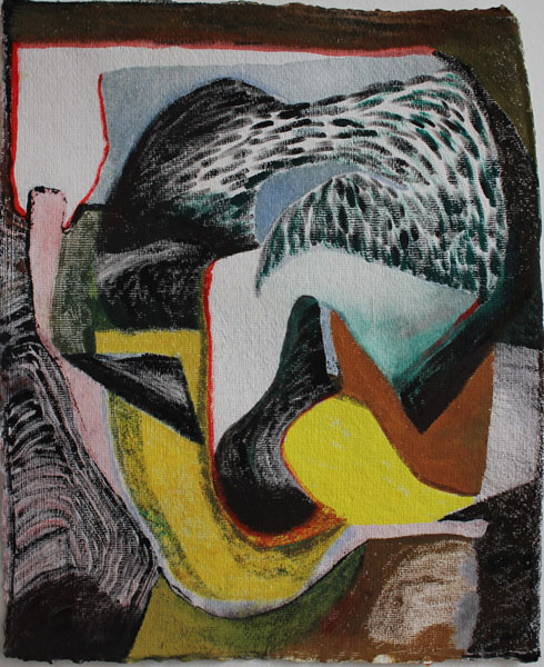 """14"""" by 11"""" gouache and wc on India Khadi paper - 2014"""