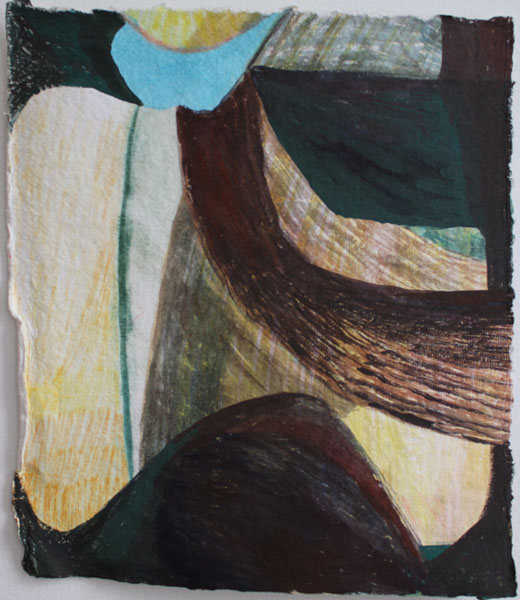 """11"""" by 10"""" gouache and wc on India Khadi paper - 2014"""