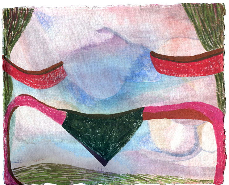 """8"""" by 10"""" gouache and wc on India Khadi paper - 2013"""